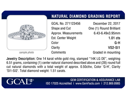 GCAL Diamond Jewelry Report Card