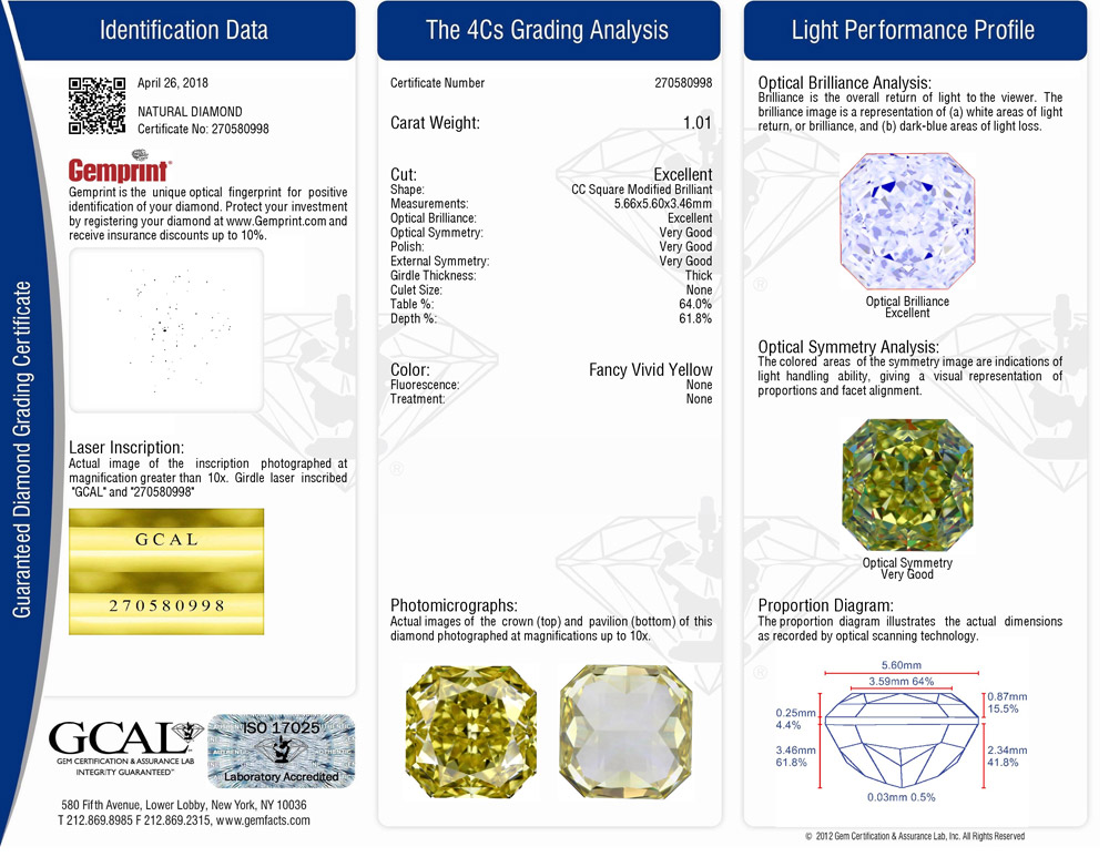 GCAL Colored Diamond Grading Certificate Only Color