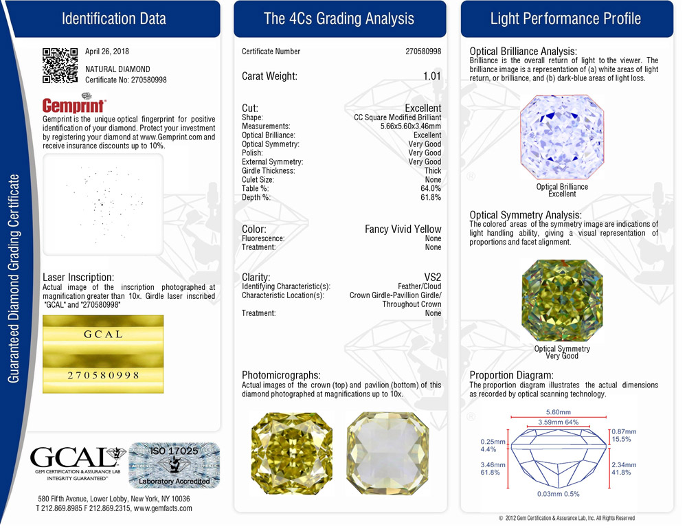 GCAL Colored Diamond Grading Certificate