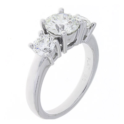 GCAL Jewelry Photography Platinum-3 Stone Diamond Ring