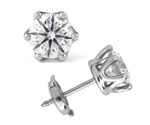 GCAL Jewelry Photography White Gold 6 Prong Diamond Stud Earrings